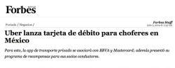 Uber lanza tarjeta de débito para choferes en México